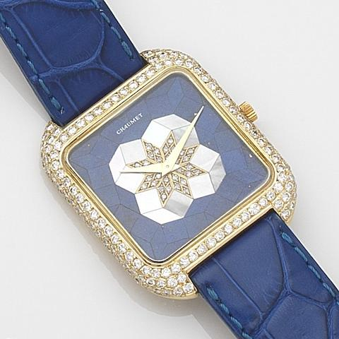 Vacheron & Constantin. An 18ct gold and diamond set automatic wristwatch with lapis lazuli and mother of pearl dialRetailed by Chaumet, Ref:2636 RE, Case No.528542PP, Movement No.884489, Circa 1980