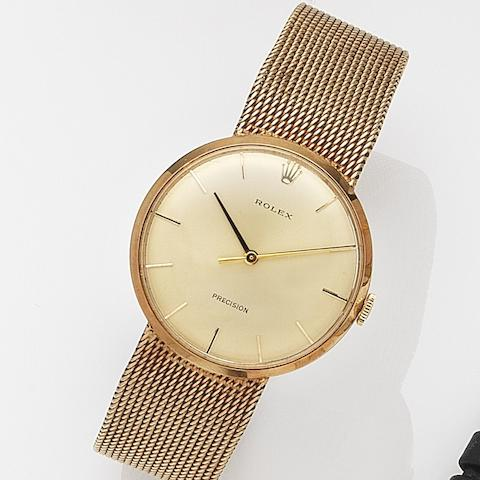 Rolex. A 9ct gold manual wind bracelet watchPrecision, Ref:3268, Case No.431941, Movement No.4893, Birmingham Hallmark for 1970, Sold 21st December 1971