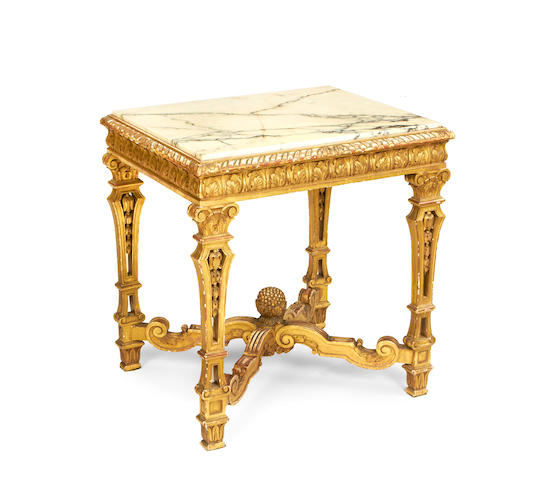 A French late 19th century giltwood side table in the Louis XIV style