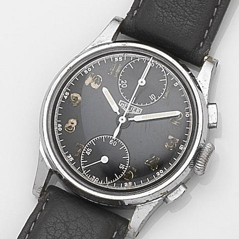 Swiss. A stainless steel manual wind chronograph wristwatchCase No.101824, Circa 1940