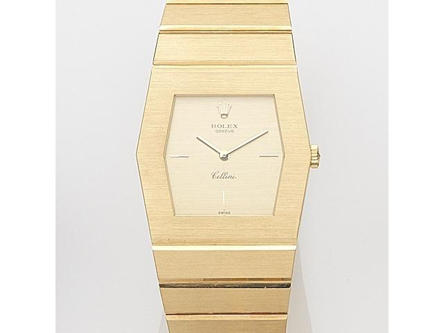 Rolex. An 18ct gold manual wind bracelet watchCellini, Ref:4173, Serial No.4278***, Circa 1976