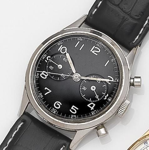 Zenith. A stainless steel manual wind chronograph wristwatchCase No.9105329, Circa 1950