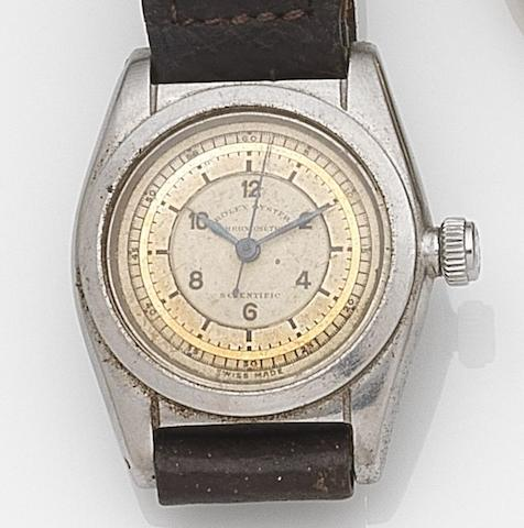 Rolex. A stainless steel manual wind wristwatchOyster Scientific, Ref:2765, Case No.90698, Circa 1940