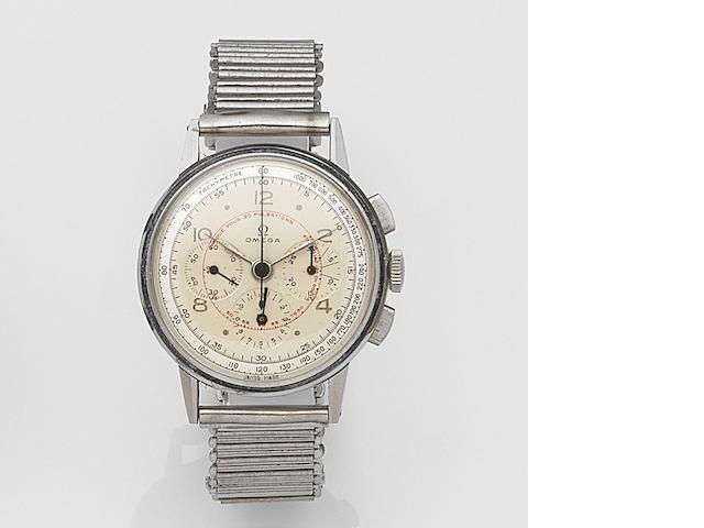 Omega. A stainless steel manual wind chronograph bracelet watchRef:2279-2, Movement No.10389967, Circa 1944