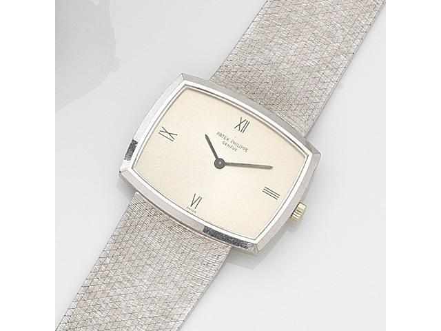 Patek Philippe. An 18ct white gold manual wind bracelet watchRef:3528 1, Case No.2685385, Movement No.1164302, Circa 1968