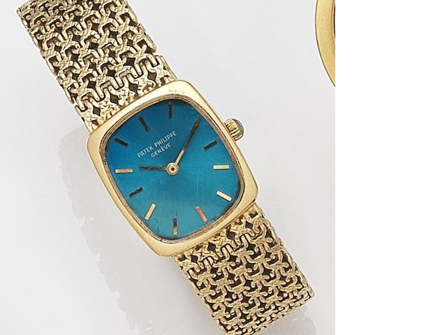 Patek Philippe. A lady's 18ct gold manual wind bracelet watchEllipse, Ref:4186-2, Case No.2720038, Movement No.1263438, London Hallmark for 1972, Sold 10th September 1973