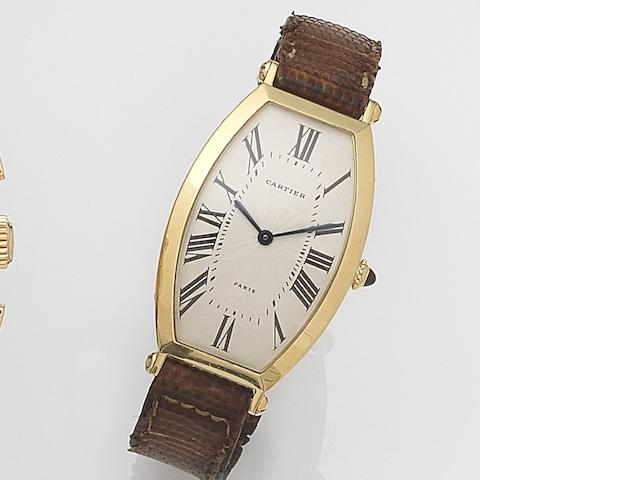 Cartier. An 18ct gold manual wind wristwatchCirca 1990