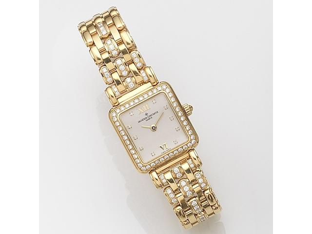 Vacheron Constantin. A lady's 18ct gold and diamond set manual wind bracelet watchCase No.706465, Movement No.650402, Recent