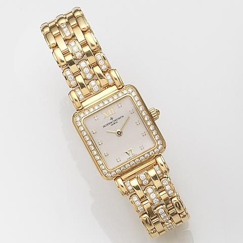 Vacheron Constantin. A lady's 18ct gold and diamond set manual wind bracelet watchCase No.706465, Movement No.650402, Recent