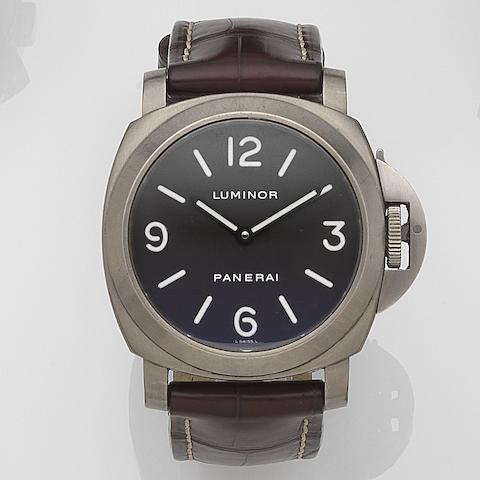 Panerai. A titanium manual wind wristwatch with box and papersLuminor, Ref:PAM116, No.F149/300, Case No.OP6570BB10900881, Sold 29th October 2003
