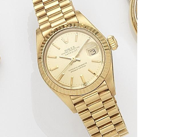 Rolex. A lady's 18ct gold automatic calendar bracelet watchDatejust, Ref:6947, Serial No.614****, Movement No.587***, Circa 1980