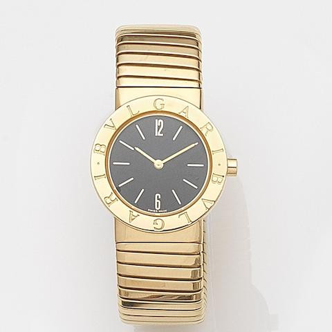 Bulgari. A lady's 18ct gold quartz bracelet watchRef:BB262T, Case No.P.52094, Sold 6th November 1989