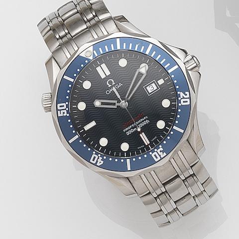 Omega. A stainless steel quartz calendar bracelet watchSeamaster, Case No.196 1504, Circa 2005