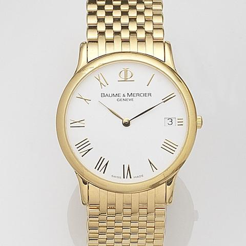 Baume & Mercier. An 18ct gold quartz calendar bracelet watchClassima, Case No.65528, Circa 2000
