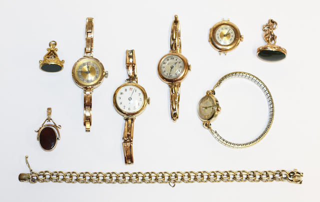 A collection of watches and jewellery, (9)