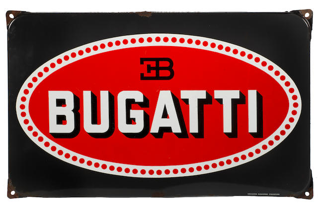 A Bugatti enamel sign, French,