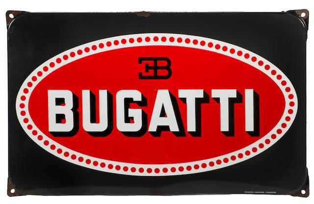 A Bugatti enamel sign, French,
