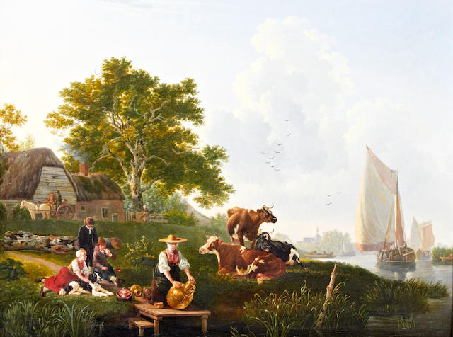Leendert de Koningh (Dordrecht 1777-1849) River landscape with barges, cattle and maid cleaning metalware