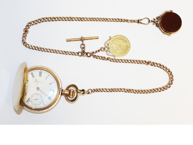 A rolled gold pocket watch and an Albert chain,