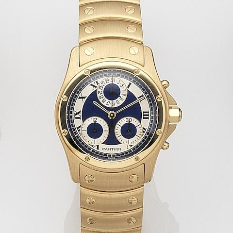 Cartier. A mid-sized 18ct gold quartz chronograph bracelet watchCougar, Ref:C1890, Circa 1995