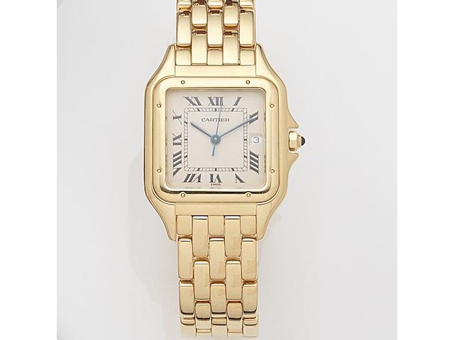 Cartier. An 18ct gold quartz calendar bracelet watchPanthere, Case No.8839685476, Sold 18th December 1987