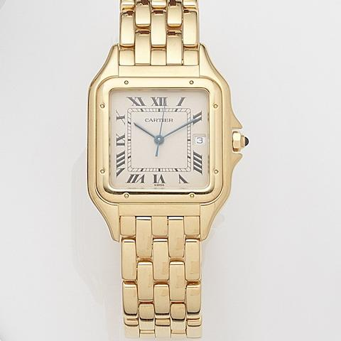 Cartier. An 18ct gold quartz calendar bracelet watchPanthere, Case No.8839685476, Sold 18th December 1987