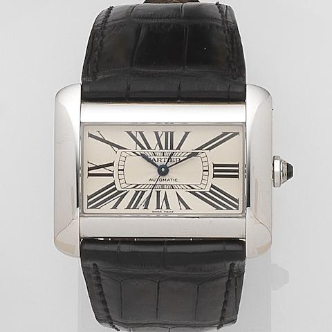 Cartier. A stainless steel automatic wristwatchTank Divan, Ref:2612, Case No.435929CE, Sold 11th June 2008