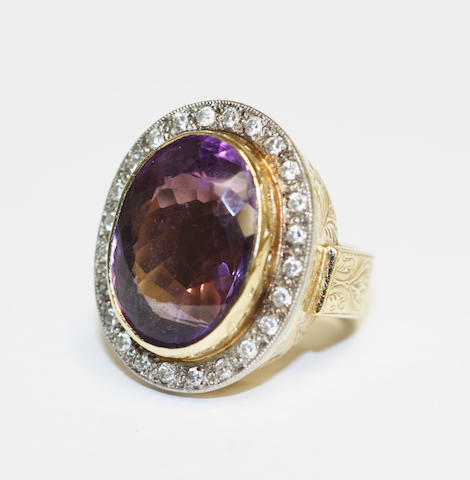 A large amethyst and diamond cluster ring,