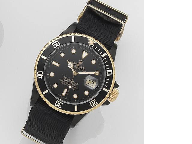 Rolex. A PVD coated stainless steel automatic calendar watchSubmariner, Ref:16803, Serial No.R39****, Movement No.209****, Circa 1988