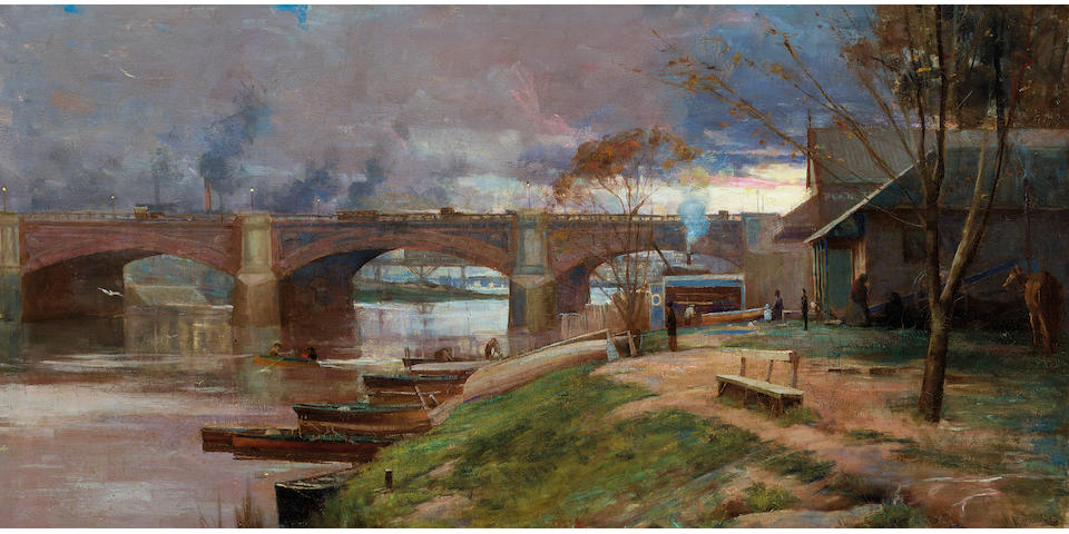 Arthur Streeton (1867-1943) Between the lights - Princes Bridge 1888