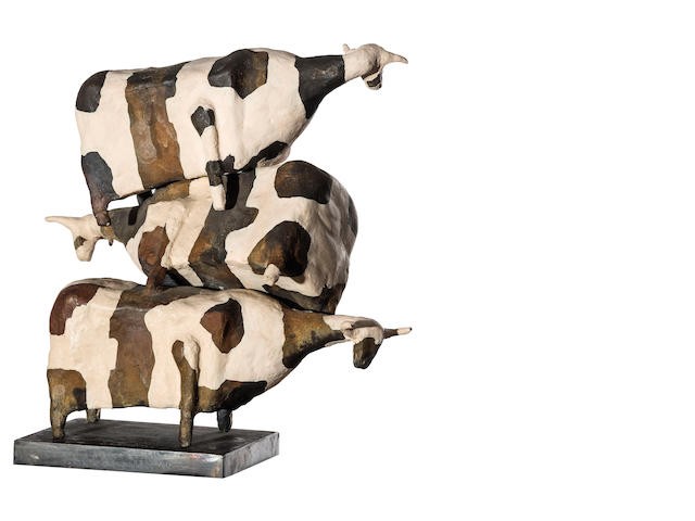 John Kelly (born 1965) Cows Falling 1994-95 35.0 x 42.0 x 25.0cm (13 3/4 x 16 9/16 x 9 13/16in). (excluding base)