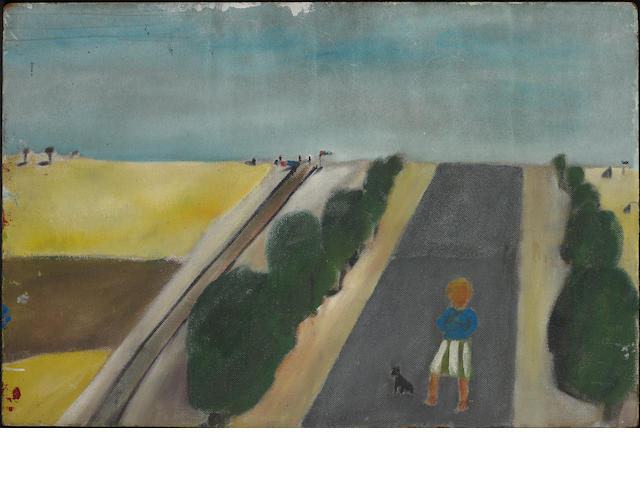Sidney Nolan (1917-1992) Girl and dog, Kiata, Wimmera c.1943; River landscape and figure c.1943 verso