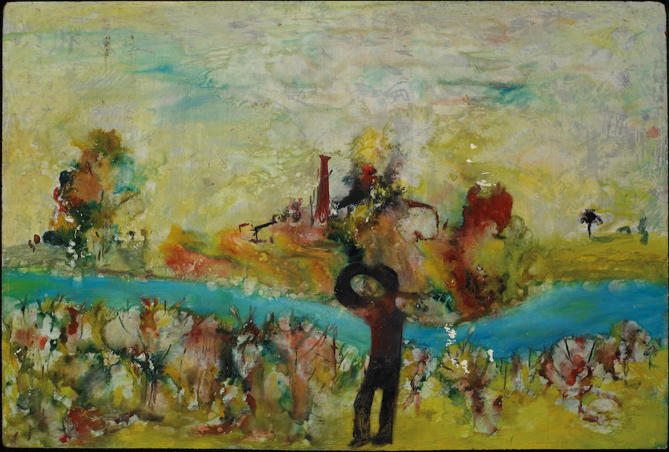 Sidney Nolan (1917-1992) Girl and dog, Kiata, Wimmera c.1943; River landscape and figure c.1943 verso