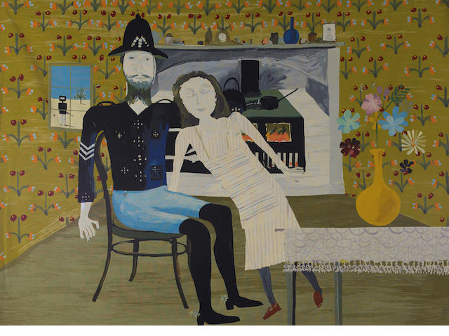 Sidney Nolan (1917-1992) Constable Fitzpatrick and Kate Kelly c.1973, based on the painting of the same name, 1946