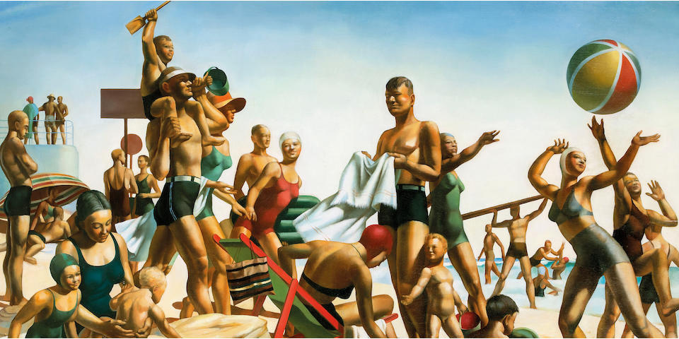 Charles Meere (1890-1961) and Studio Australian Beach Pattern c.1940