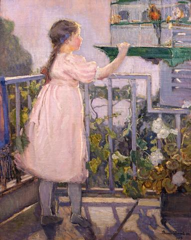 Bessie  Davidson (1879-1965) Fillette au Perroquet (Small girl with a parrot) 1913