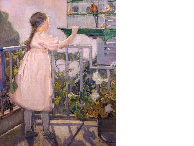 Bessie Ellen Davidson (Australian, 1879-1965) Fillette au Perroquet (Small girl with a parrot) 1913