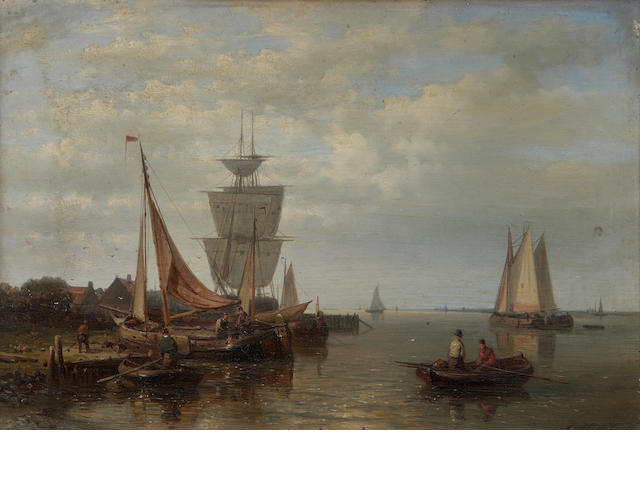 Abraham Hulk, Snr (Dutch, 1813-1897) Fishing boats approaching a shore in a calm