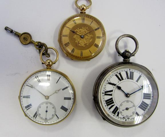 A lot of three key wind open face pocket watches (AF)