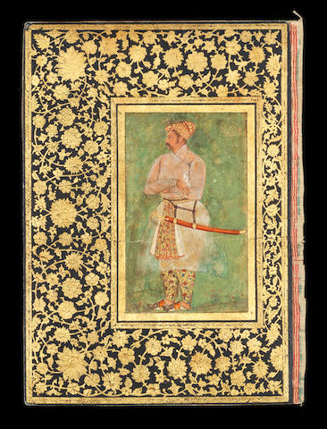 A portrait of a Rajput nobleman, attributed to the Mughal master Manohar, mounted on a royal album page Mughal, circa 1610-20