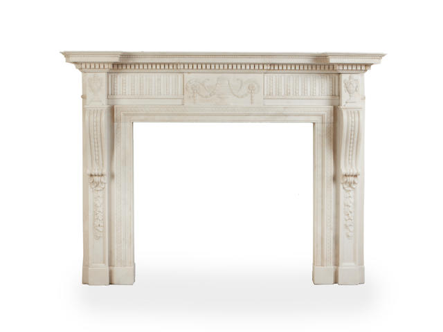 A late 19th century carved Carrara marble chimneypiecein the George III style,