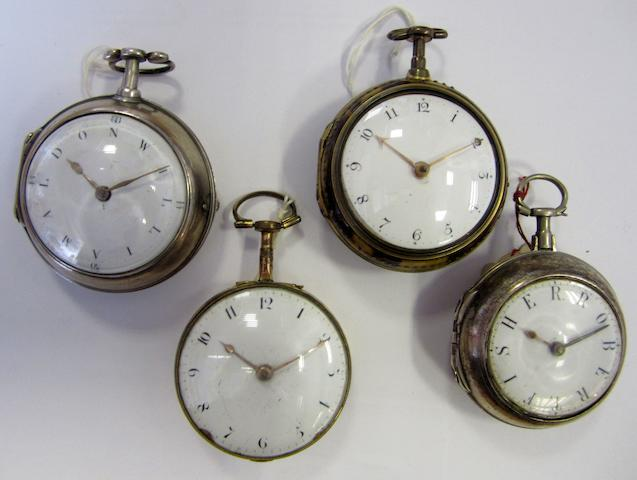 A lot of four key wind pocket watches with verge escapements (AF)