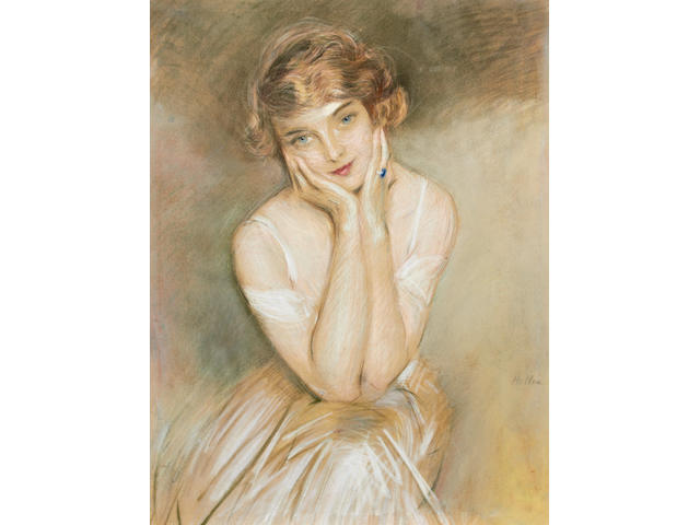 Paul César Helleu (French, 1859-1927) Portrait of a society beauty