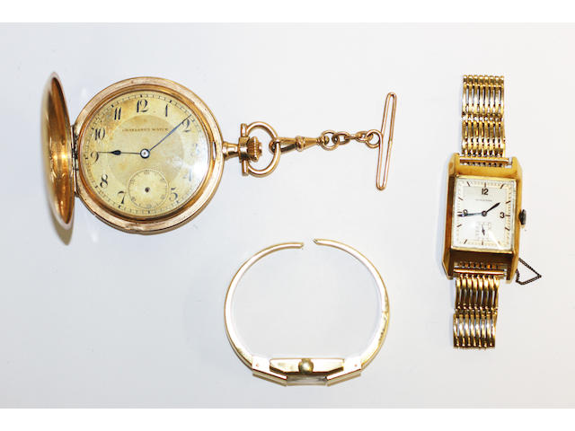 A hunter pocket watch and two wristwatches, (3)
