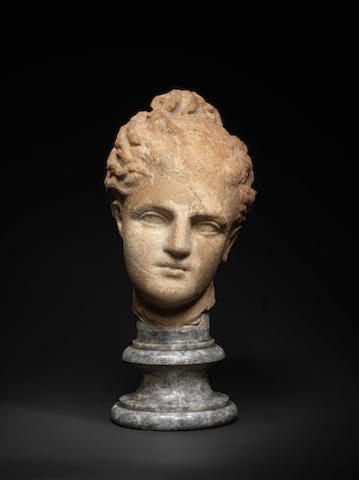 A Greek marble head of a goddess