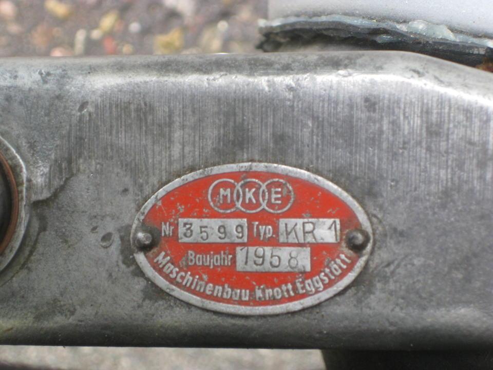 1959 Messerschmitt KR200 Microcar  Chassis no. 73202 Engine no. 3473836