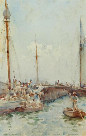 Henry Scott Tuke, RA, RWS (British, 1858-1929) Harbour scene in Kingston, Jamaica