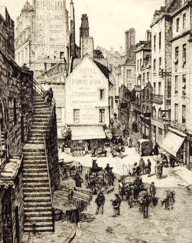 Stanley Anderson (British, 1884-1966) A busy French Street