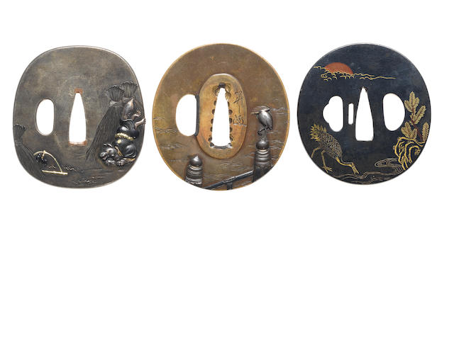 Three soft metal tsuba Murakami and Hamano Schools, late 18th/19th century