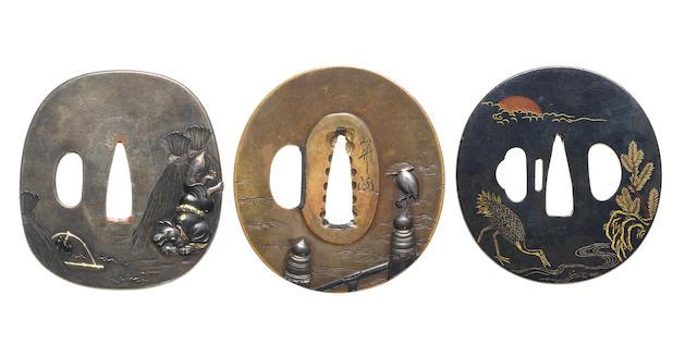 Three soft metal tsuba Murakami and Hamano Schools, late 18th/19th century